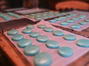 Some of the better baked blue macarons...