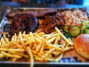 Chicken, brisket, and pulled pork